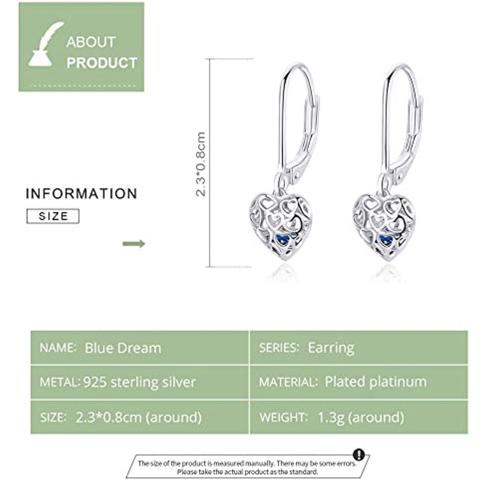 S925 Sterling Silver  Cute Love Heart Drop Earring Christmas Birthday Gifts for Teen Girls