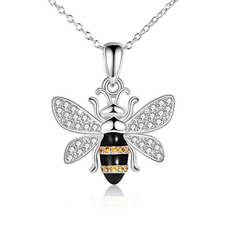 Silver Bumblebee Pendant Necklace