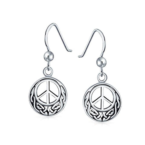 Peace Sign Symbol Celtic Knotwork Celtic Irish Love Knot Work Drop Earrings Oxidized 925 Sterling Silver