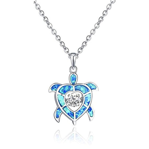925 Sterling Silver Cubic Zirconia Blue Fire Opal Sea Turtle Pendant Necklace