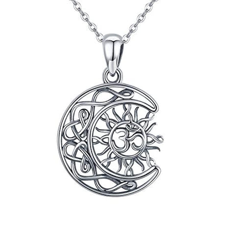 Silver Om Aum Ohm Yoga Pendant Necklace