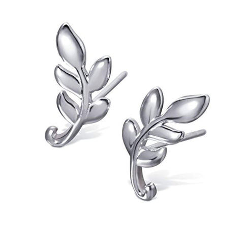 Leaf Stud Earrings Olive Leaf Earrings Sterling Silver Leaf Studs for Woman (Leaf B)