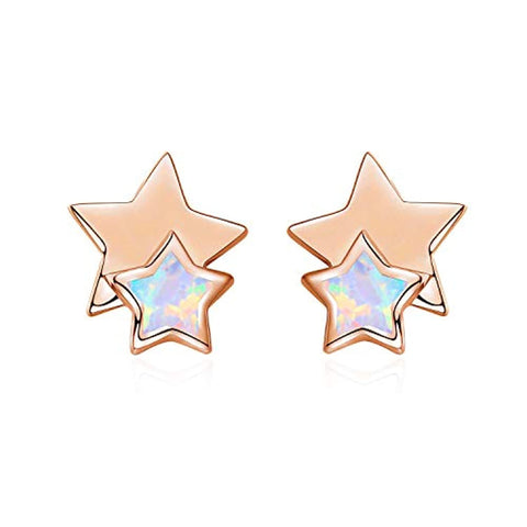 Silver Star Opal Earrings Studs  Earrings