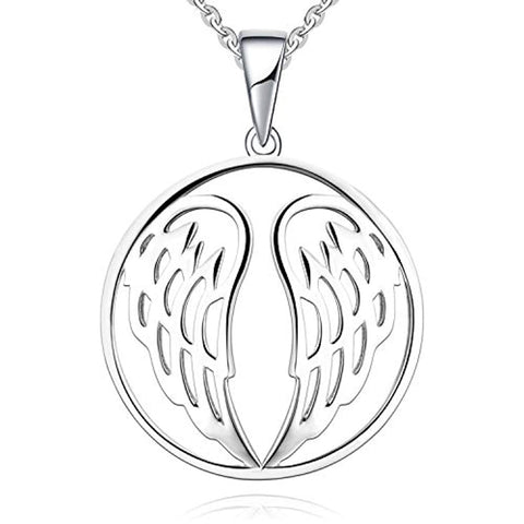 Silver Guardian Angel Wings Pendant Necklace