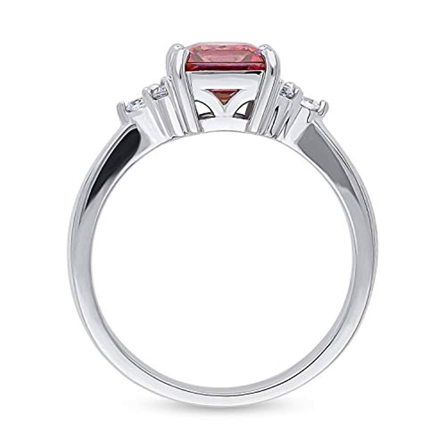 Rhodium Plated Sterling Silver Solitaire Promise Ring Made with Swarovski Zirconia Red Princess Cut