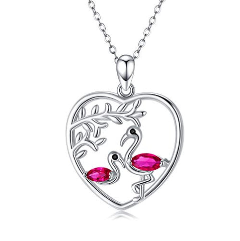 Silver Flamingo Necklace Animal Heart Pendant