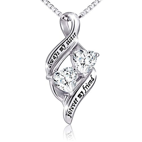 Always My Sister Forever My Friend 925 Sterling Silver Double Love Heart Necklace, Box Chain 18