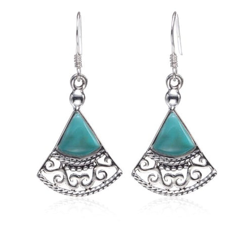 Blue Turquoise Gemstones Filigree Triangle Dangle Earrings