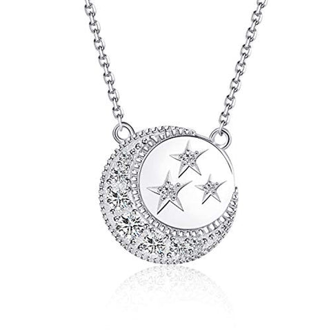 Silver Moon &Star CZ Pendant Necklace