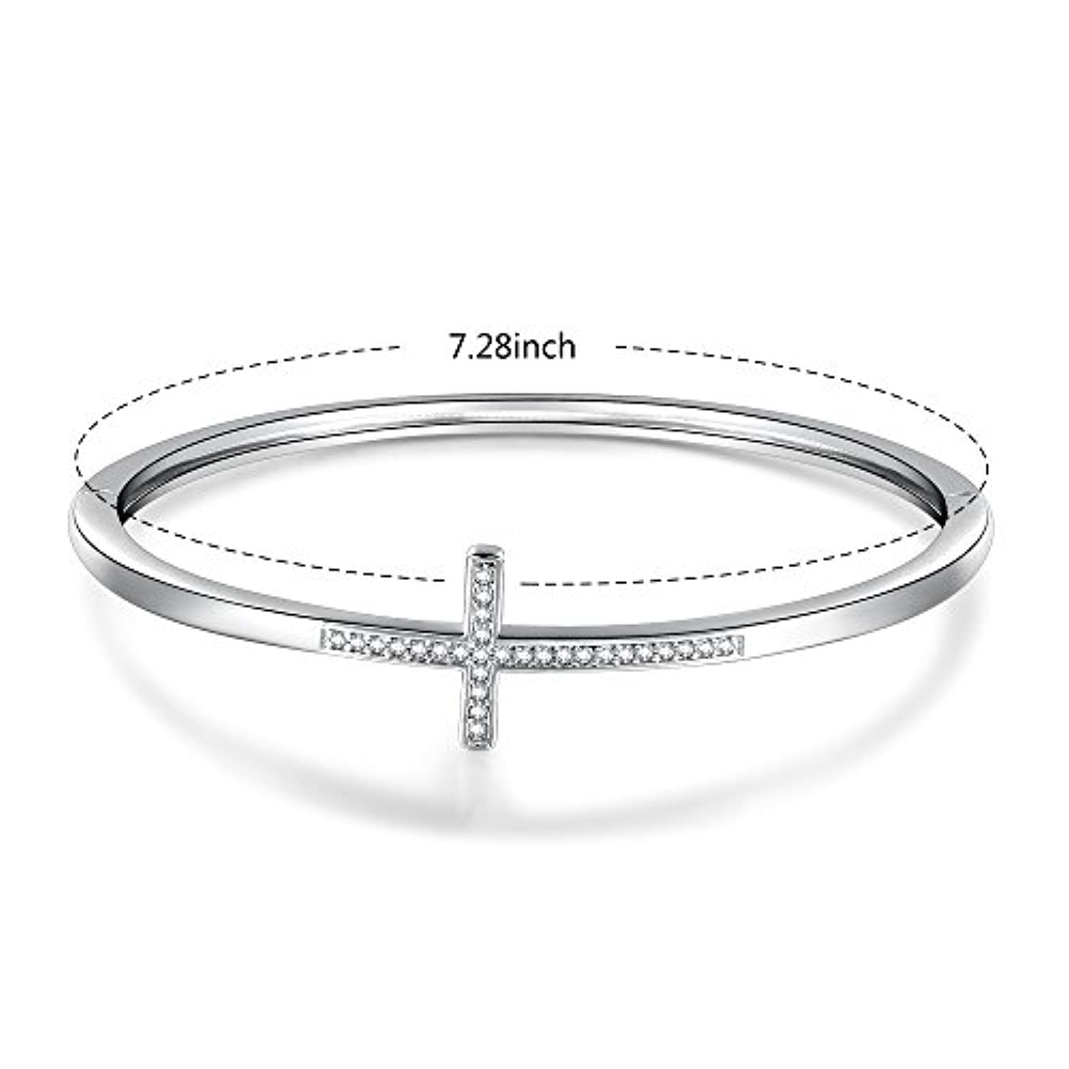 "Crystal Bangle Bracelet for Women ""Encounter of Love"" 7 Inches White Gold Plated Charm Braceletswith Swarovski Crystals, Jewelry Gifts for Women Girls"