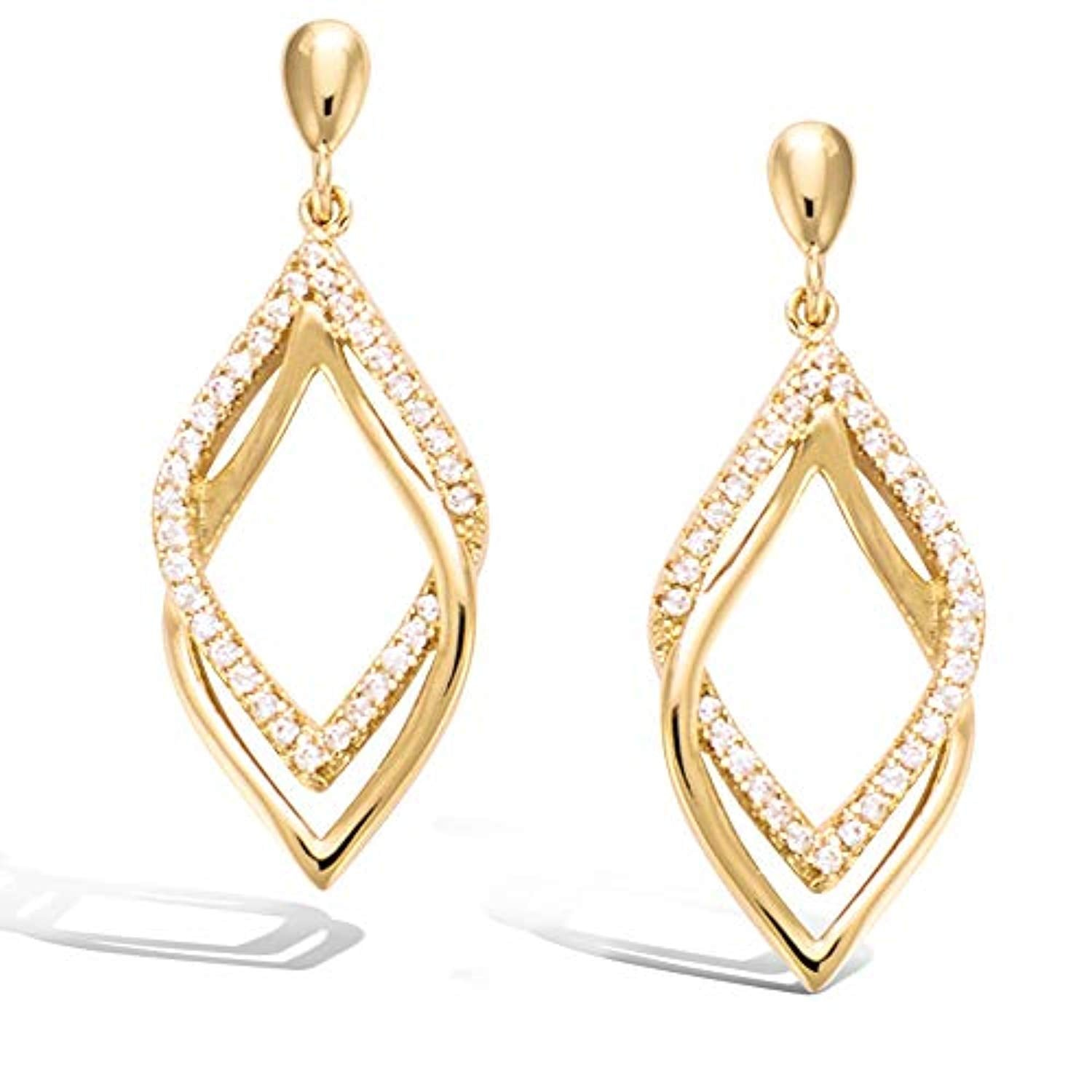 Sterling silver Gold plated  Geometric  Dangle Drop Earrings Fashion Jewelry