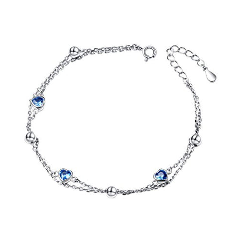 Adjustable Double Strand Hand Chain for Women S925 Sterling Silver Adjustable Heart Link Bracelet