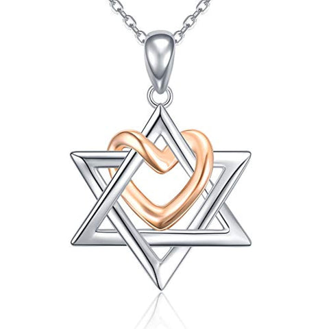 925 Silver Star of David pendant with Rose Gold Heart Necklace Jewelry Gift for Women