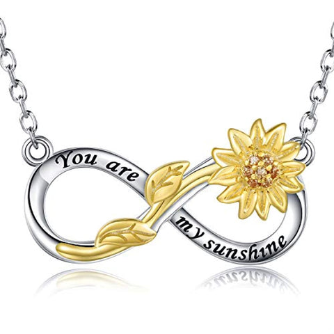 925 Silver Sunflower Infinity Pendant Necklace - You are My Sunshine Jewelry Daughter Mother Gift for Women