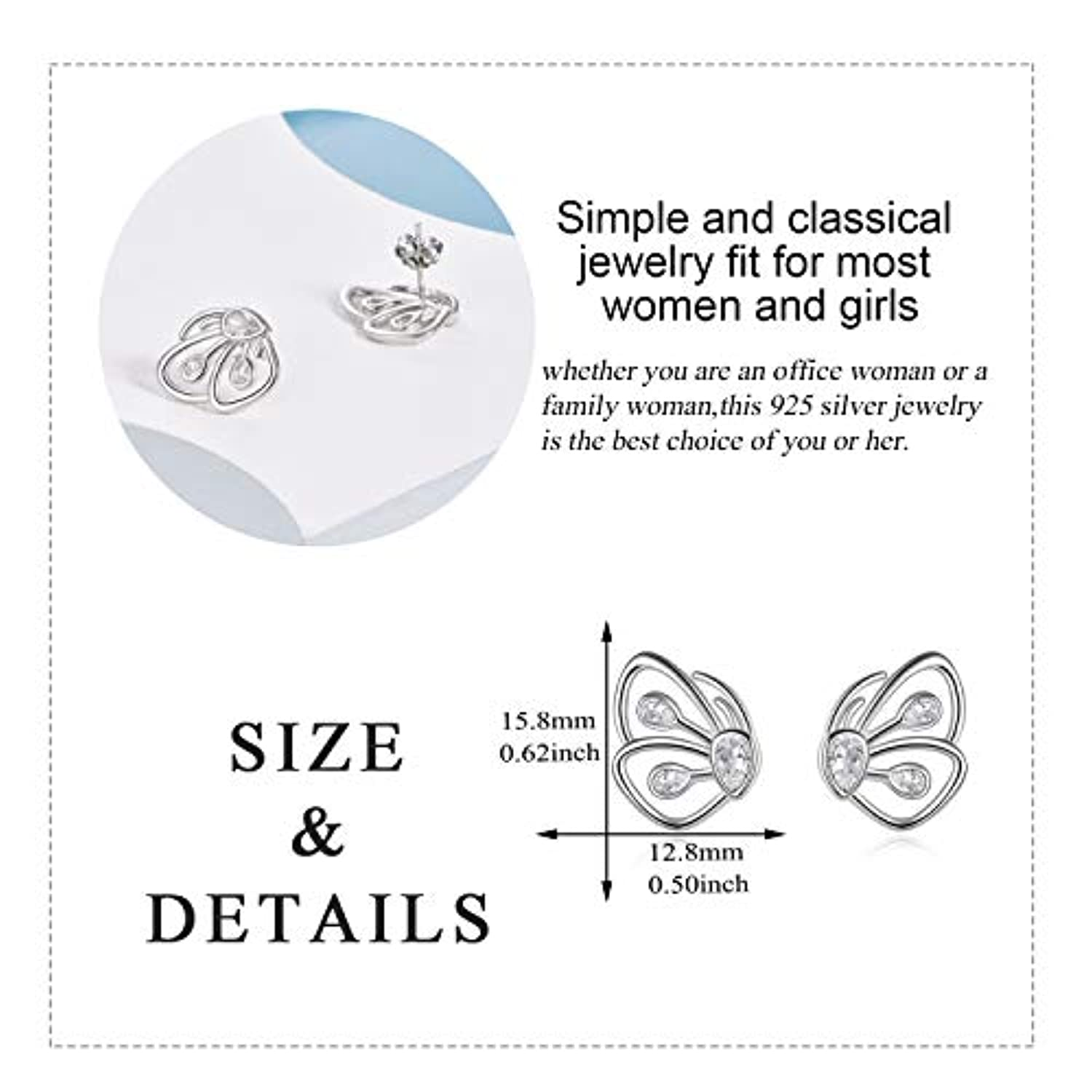 Sterling Silver Butterfly Stud Earrings Hypoallergenic Jewelry for Women