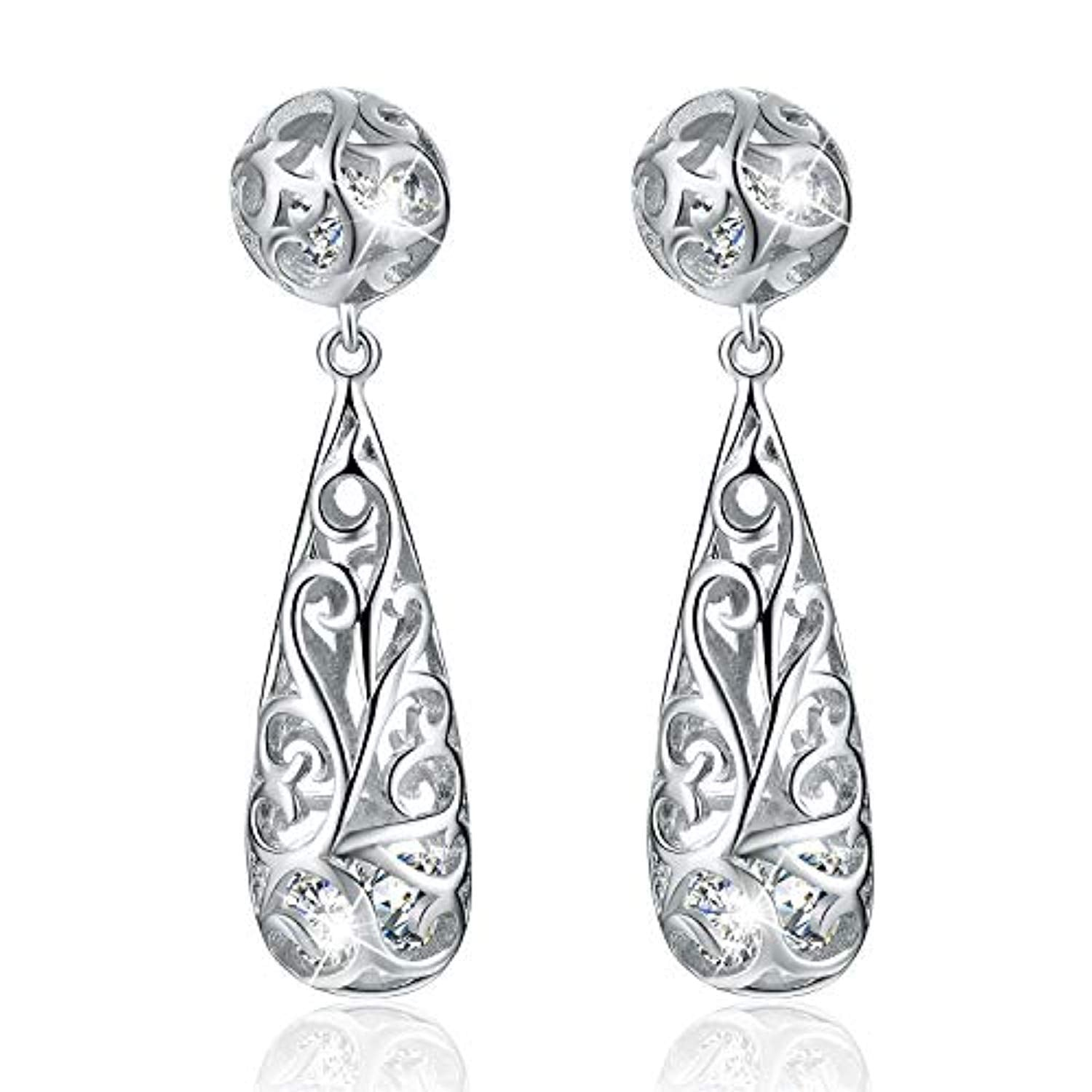 925 Sterling Silver Filigree Puffed Teardrop Earrings Hollow Dangle Earrings with Cubic Zirconia