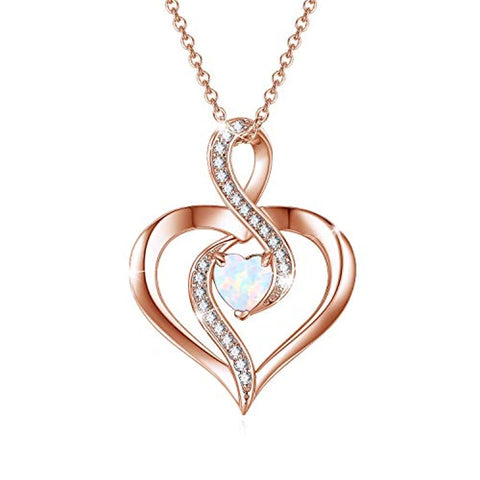 Silver Opal Heart Necklace