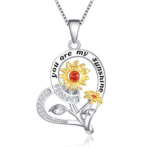 Silver Heart Sunflower Necklace