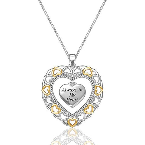 925 Sterling Silver Double Heart Pendant Necklace Always in My Heart Jewelry for Women Mother Mom