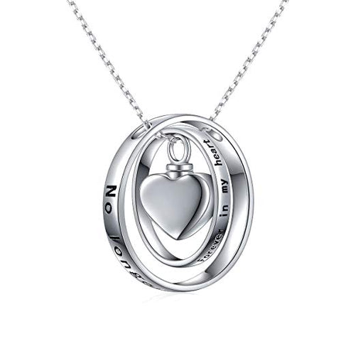 Cremation Jewelry 925 Sterling Silver Always in My Heart Urn Necklace Ashes Keepsake Pendant Necklace