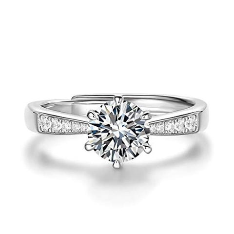 Silver  Moissanite Four Prong Wedding Engagement Ring
