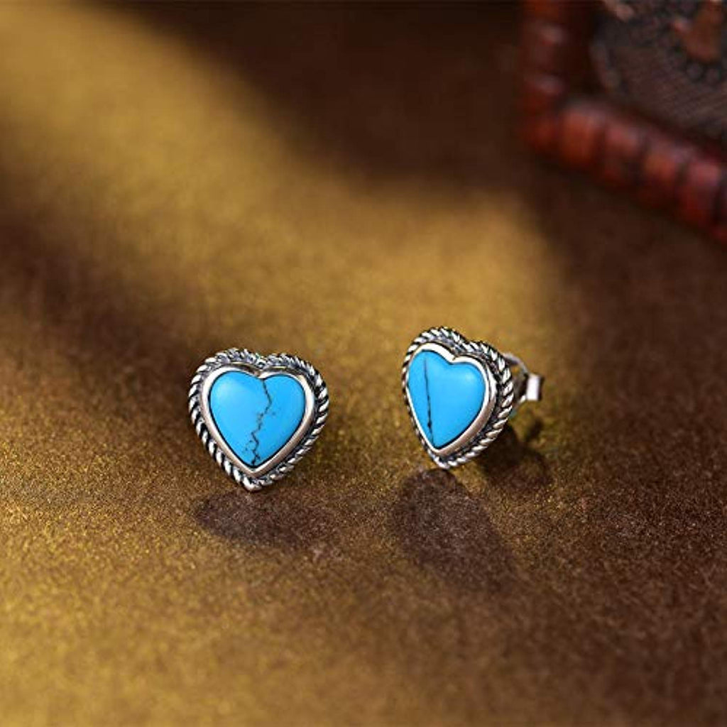 Sterling Silver Created Turquoise Small Stud Earrings Elegant December Birthstone Jewelry Gifts for Mom Women Girls