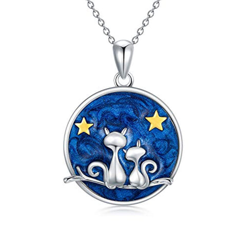 Silver Double Cute Cat Pendant Star Blue Sky Jewelry
