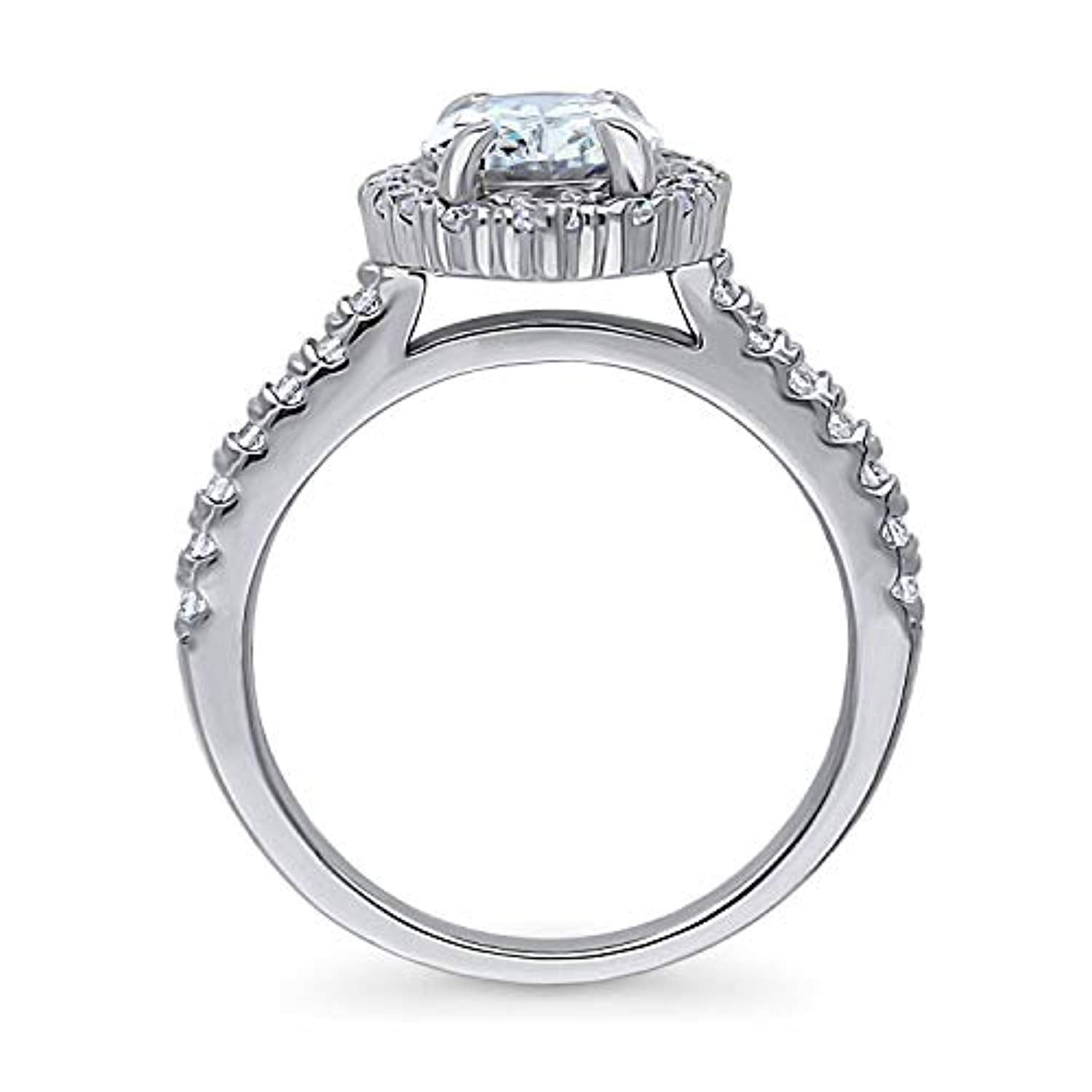 Rhodium Plated Sterling Silver Oval Cut Cubic Zirconia CZ Halo Engagement Ring