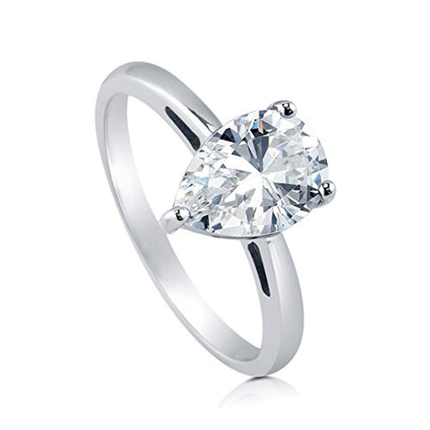 Rhodium Plated Sterling Silver Pear Cut Cubic Zirconia CZ Solitaire Engagement Ring