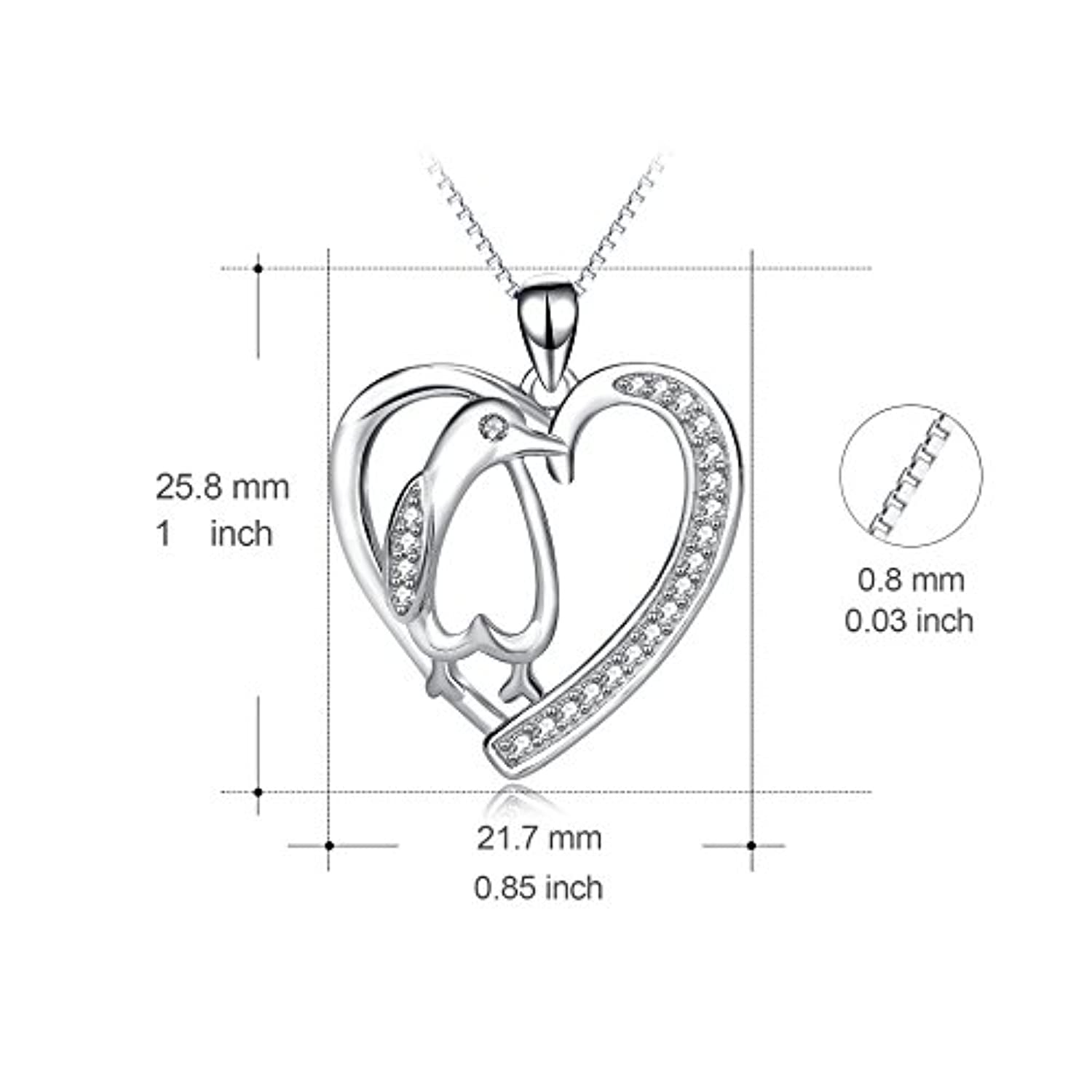 Angel caller Penguin Necklace Sterling Silver Cubic Zirconia Heart Shape Penguin Gifts for Women Girls, 18