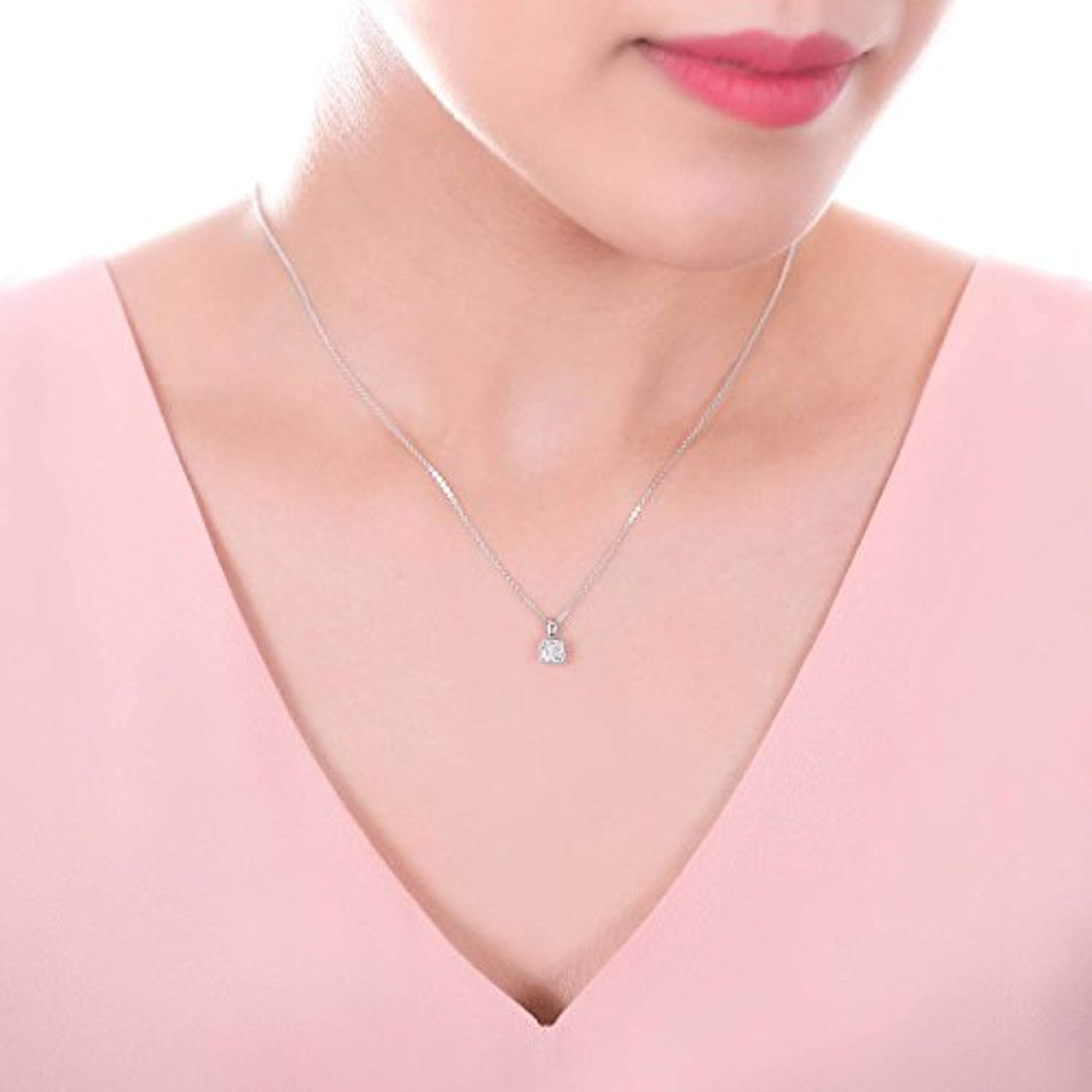 Rhodium Plated Sterling Silver Cushion Cut  CZ Pendant Necklace