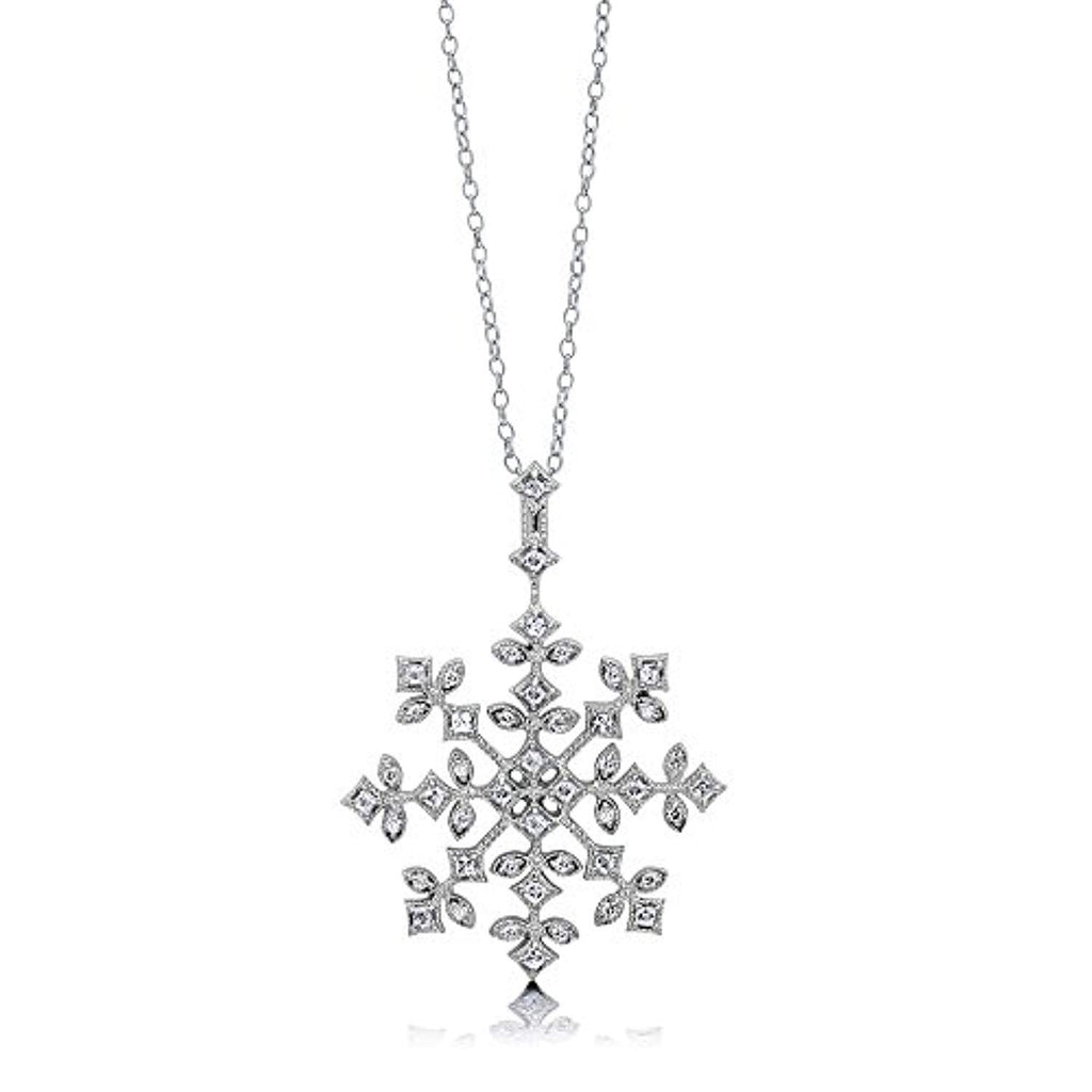 Rhodium Plated Sterling Silver Cubic Zirconia CZ Snowflake Fashion Pendant Necklace