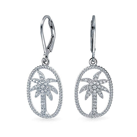 Cubic Zirconia Tropical Twisted Rope Oval Leverback Palm Tree Dangle Earrings For Women 925 Sterling Silver