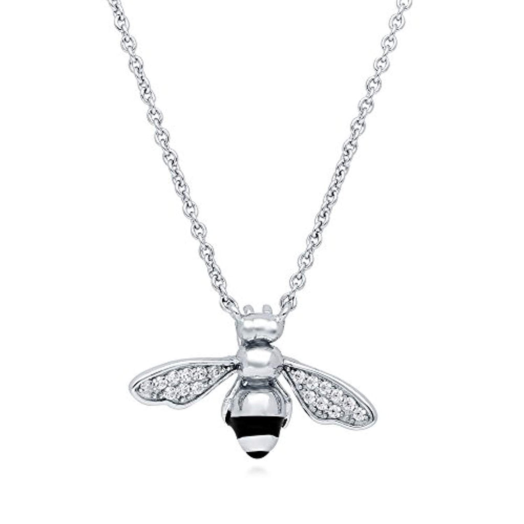 Silver CZ Bee Pendant Necklace