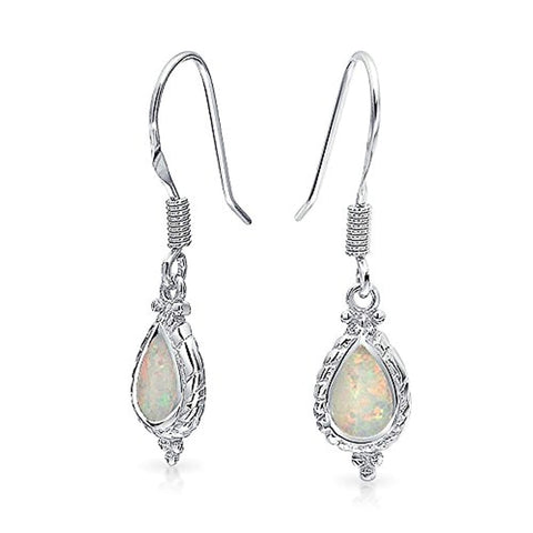 Vintage Style Cable Style Teardrop White Created Opal Drop Earrings For Women 925 Sterling Silver