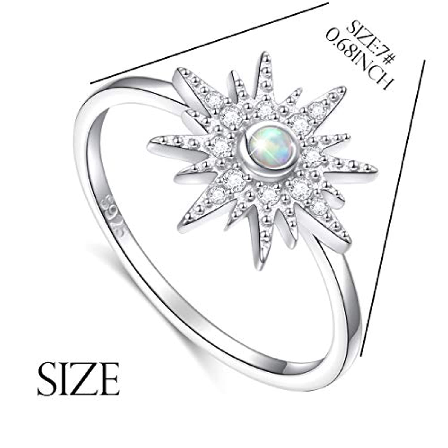 925 Sterling Silver Celestial Jewelry Lab Created Opal CZ Starburst Ring for Women Birthday Gift