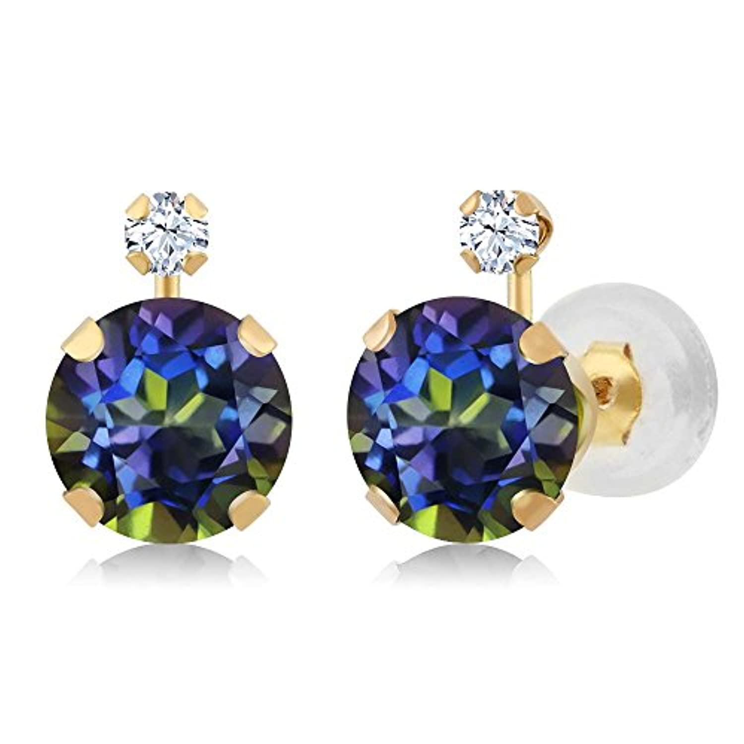 14K  Gold Blue Mystic Topaz and White Created Sapphire Stud Earrings