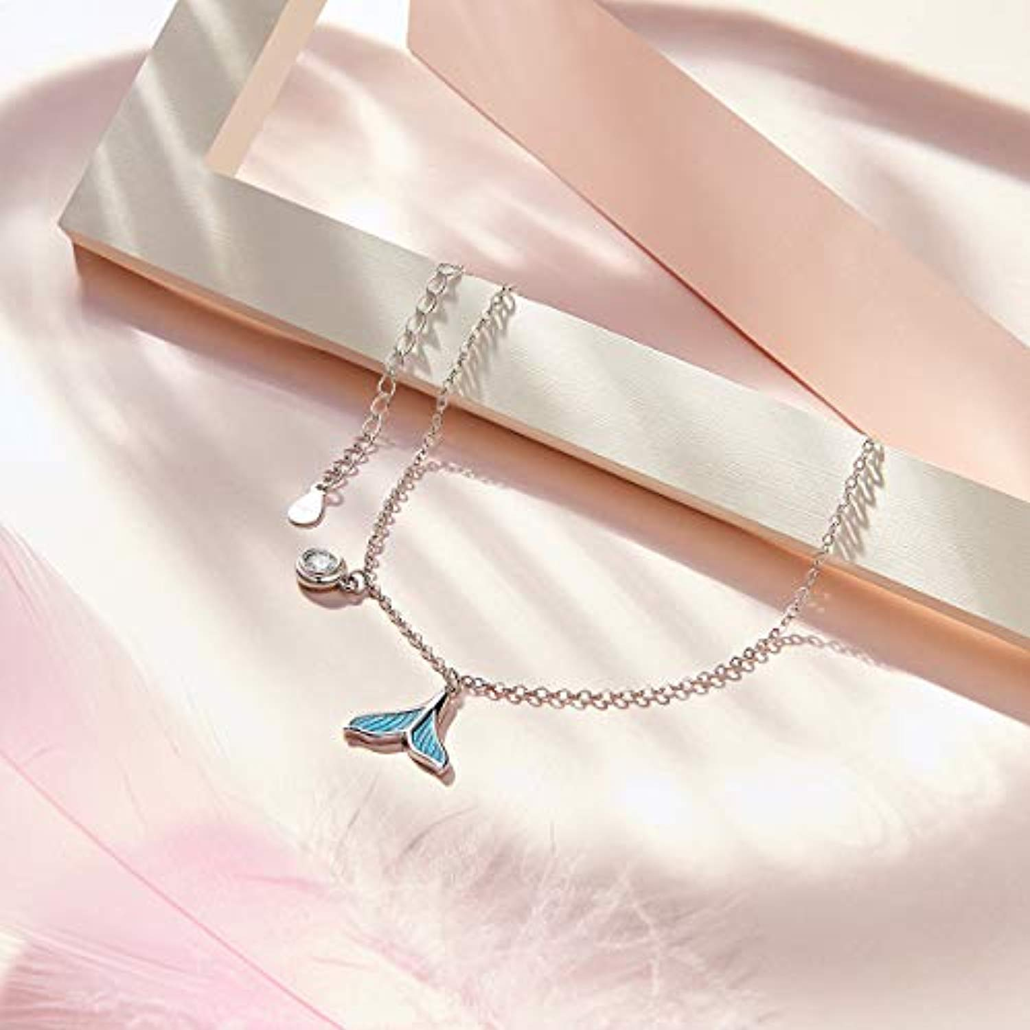 Mermaid Tail Anklet 925 Sterling Silver plated Platinum+Epoxy Anklet Dangle Adjustable Foot Chain for Women