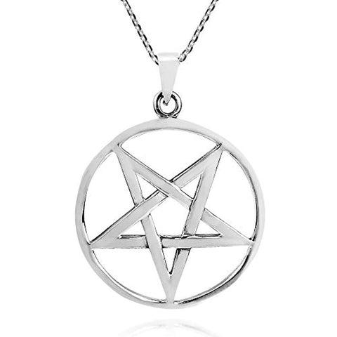 Silver  Star Pentagram Pendants Necklace