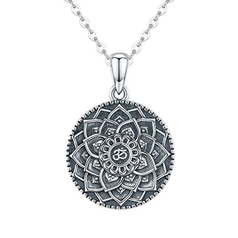 Silver Lotus Mandala Necklace
