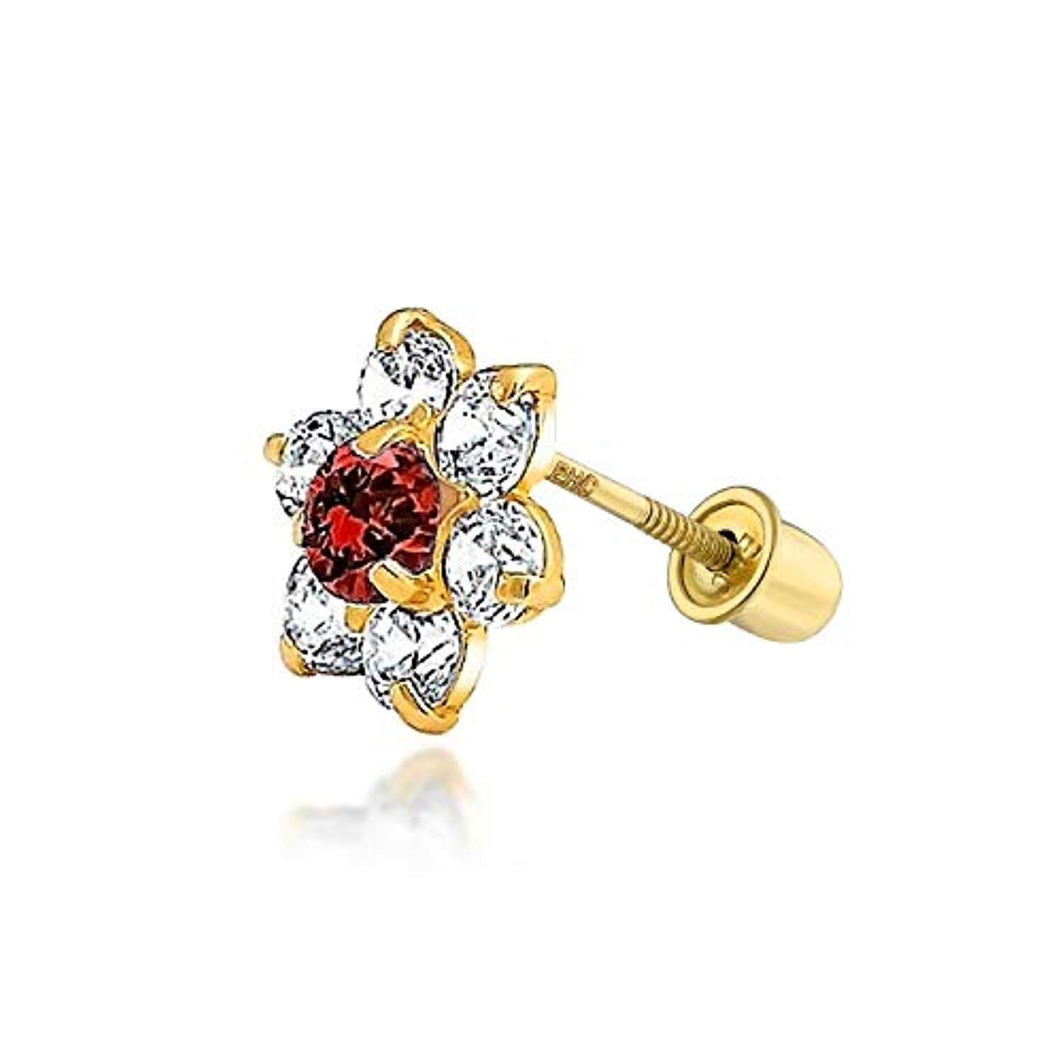 Tiny Cubic Zirconia Flower Shaped Safety Screwback CZ Stud Helix Cartilage Earring Real 14K Solid Gold 4MM More Color