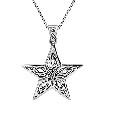 Silver Celtic Knot Star Pendants Necklace