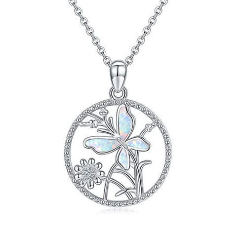 Silver Opal Necklaces Daisy Flower Butterfly Pendant Necklace