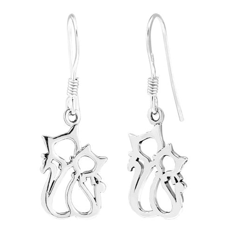 Couple Cat Dangle Earrings
