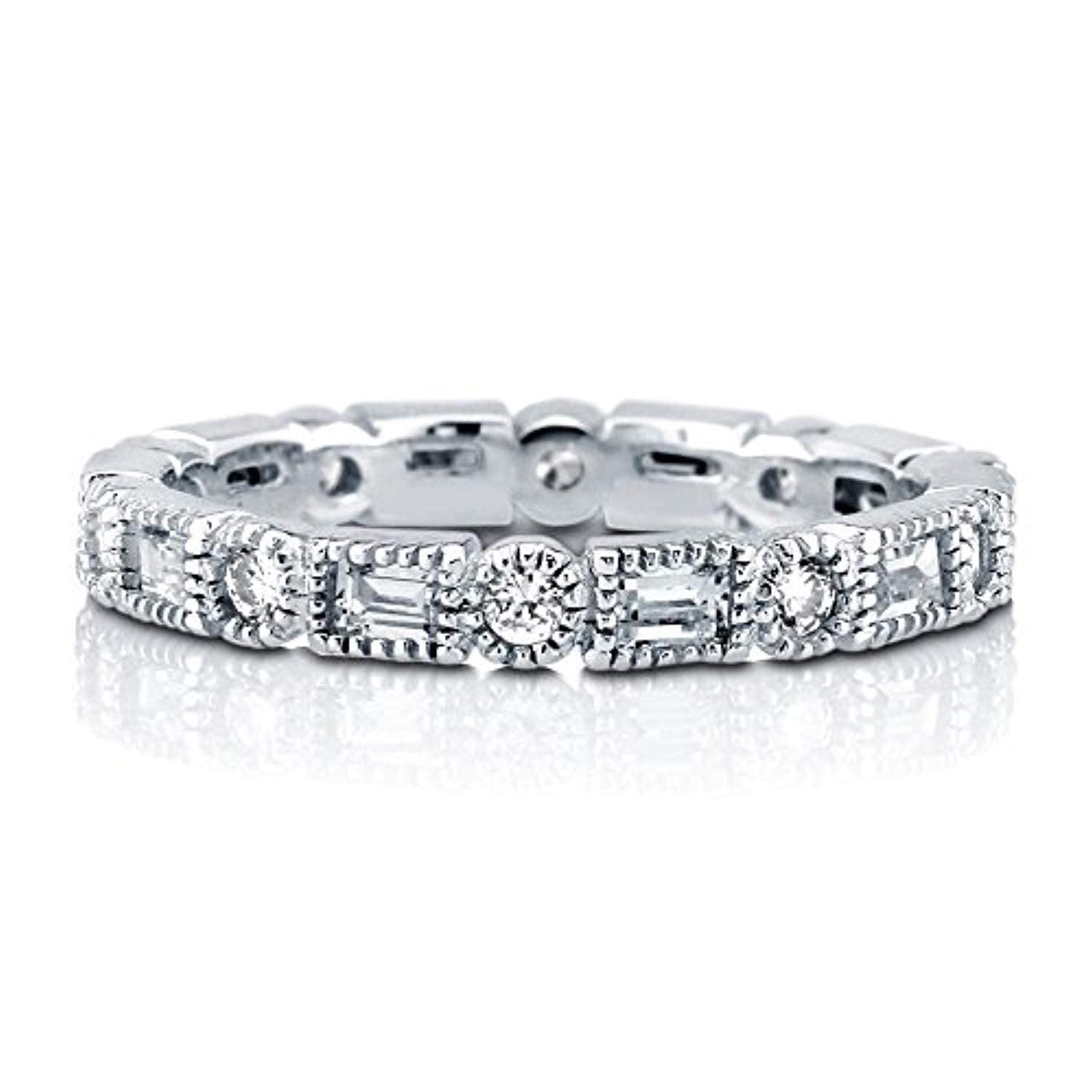 Rhodium Plated Sterling Silver Cubic Zirconia CZ Art Deco Anniversary Wedding Eternity Band Ring