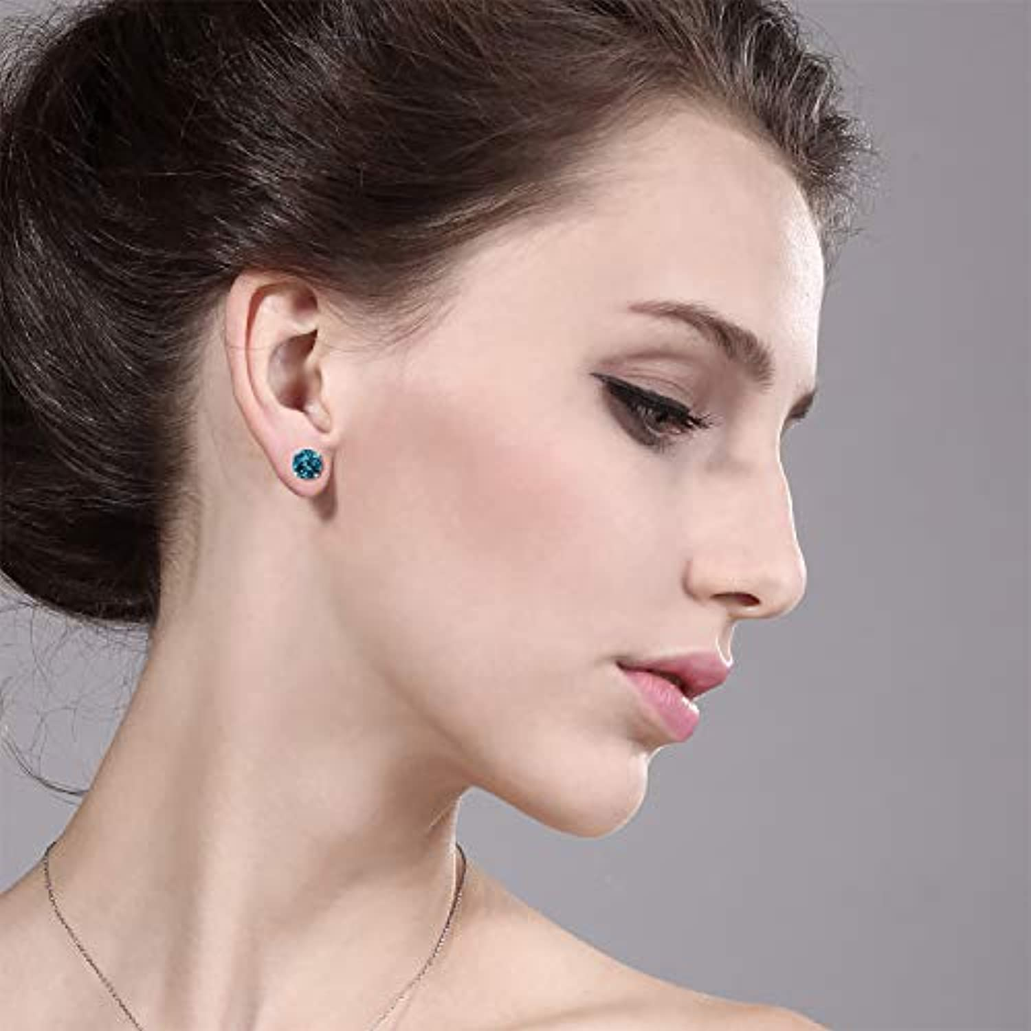 14K Gold Blue Topaz Stud Earrings For Women