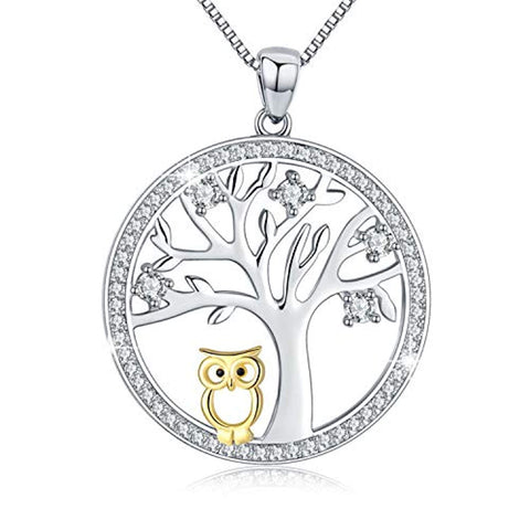 S925 Sterling Silver Family Tree Life & Owl Pendant Necklace Jewelry  for Her