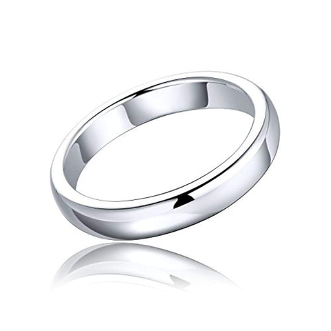 925 Sterling Silver Stackabke Wedding Band Ring with White Gold Plated