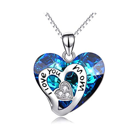Silver Mom Necklace Heart Pendant with Blue Swarovski Crystal