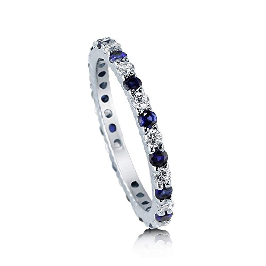 Rhodium Plated Sterling Silver Simulated Blue Sapphire Cubic Zirconia CZ Anniversary Wedding Eternity Band Ring